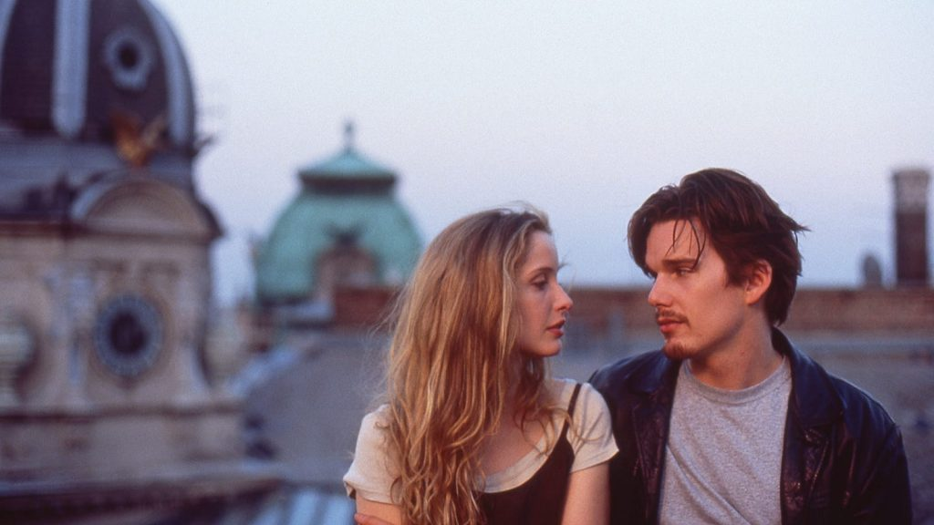 Ethan Hawke and Julie Delpy gaze at each other in Vienna, Before Sunrise